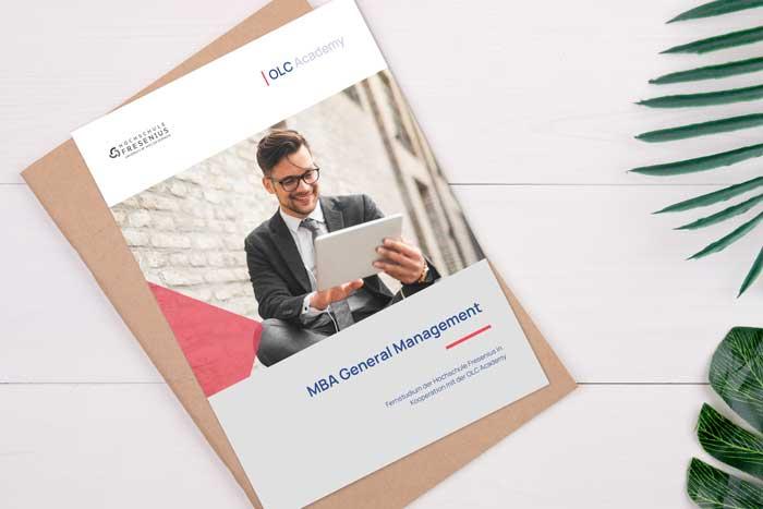 Titelblatt Infofolder zum Studiengang MBA General Management der OLC Academy
