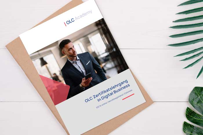 Titelbild des Infofolders zum OLC Zertifikatslehrgang in Digital Business